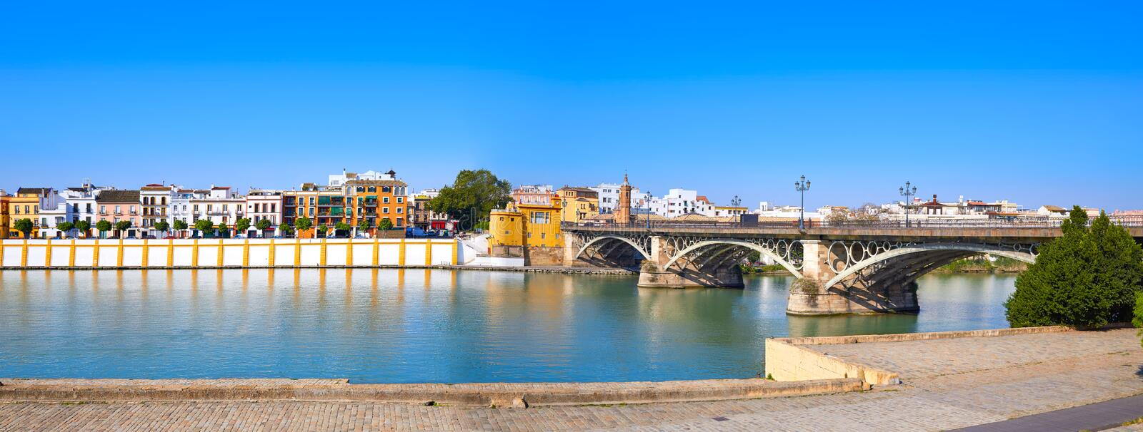 Triana barrio of Seville panoramic Andalusia. Sevilla Spain stock photography