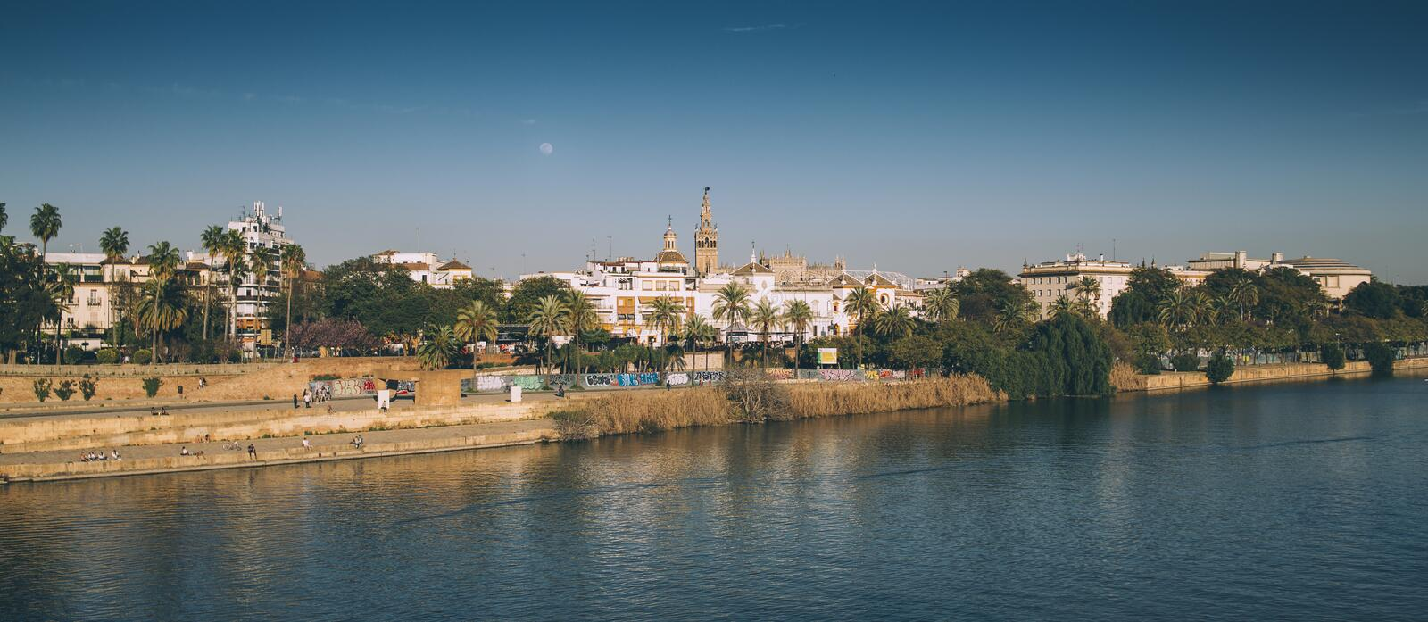 From the Triana bridge, Sevilla. Views of the city of Seville from the Triana Bridge, Guadalquivir river royalty free stock images
