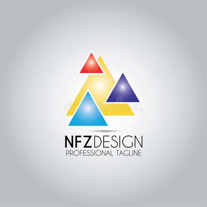 Triangel покрасило логотип дизайна иллюстрация вектора