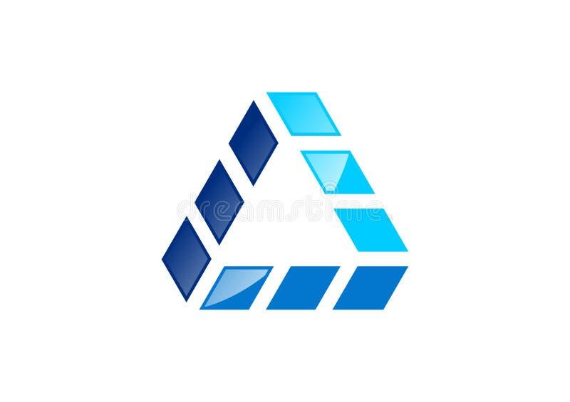 Triangel byggnad, logo, hus, arkitektur, fastighet, hem, konstruktion, vektor för symbolsymbolsdesign vektor illustrationer
