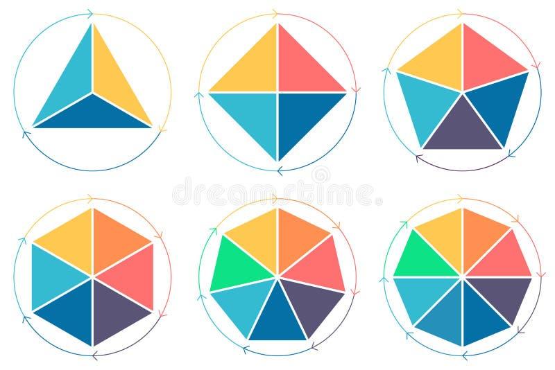 Triangel fyrkant, pentagon, sexhörning, sjuhörning, oktogon för infographics stock illustrationer