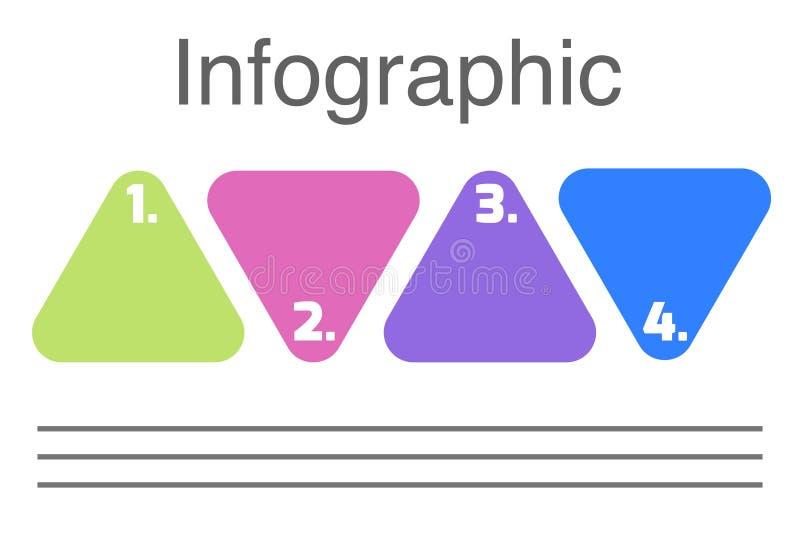 Triangel med den infographic mallen för nummerpresentationsaffär med 4 alternativ vektor illustrationer