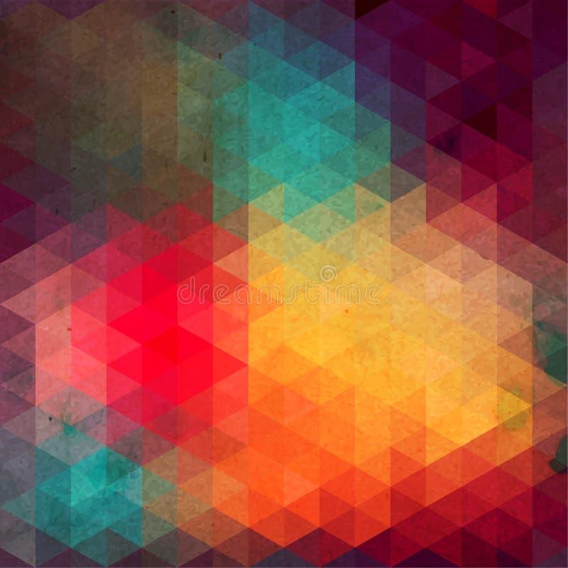 Triangelmodell av geometriska former. Färgrik mosaikbakgrund. royaltyfri illustrationer