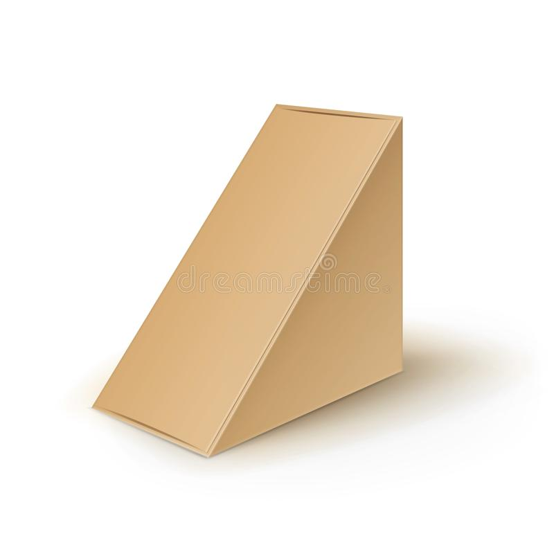 Triangeln för papp för vektorbruntmellanrumet tar bort askar som förpackar för smörgåsen, mat, gåvan, annan produktåtlöje upp slu royaltyfri illustrationer