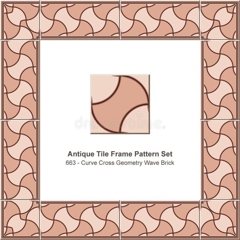 Triangl rouge réglé de la géométrie d'étoile de polygone de tuile de modèle antique de cadre illustration stock