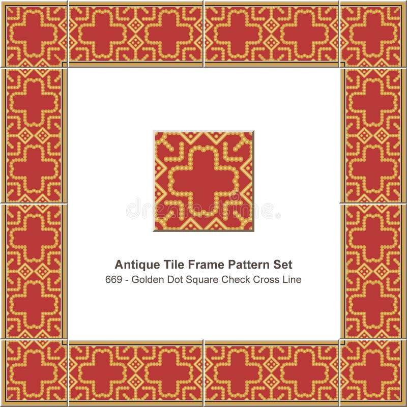 Triangl rouge réglé de la géométrie d'étoile de polygone de tuile de modèle antique de cadre illustration de vecteur