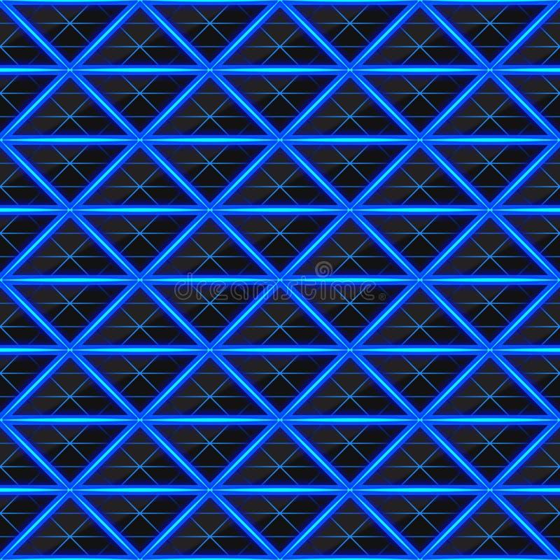 Trianglar av den svarta stenen med blåa varma strimmor av energi seamless texturvektor seamless teknologi för modell royaltyfri illustrationer