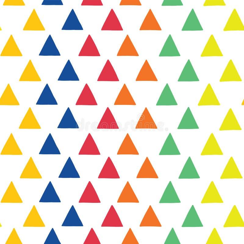 Trianglar hand-dragen sömlös modell för vektor geometrisk formmodell Spridda trianglar i blått, orange, rött, grönt och gult stock illustrationer