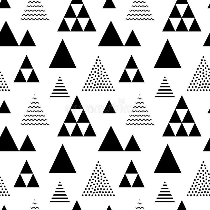 Trianglar och sömlös modell för pyramider Abstrakt geometrisk repetition royaltyfri illustrationer