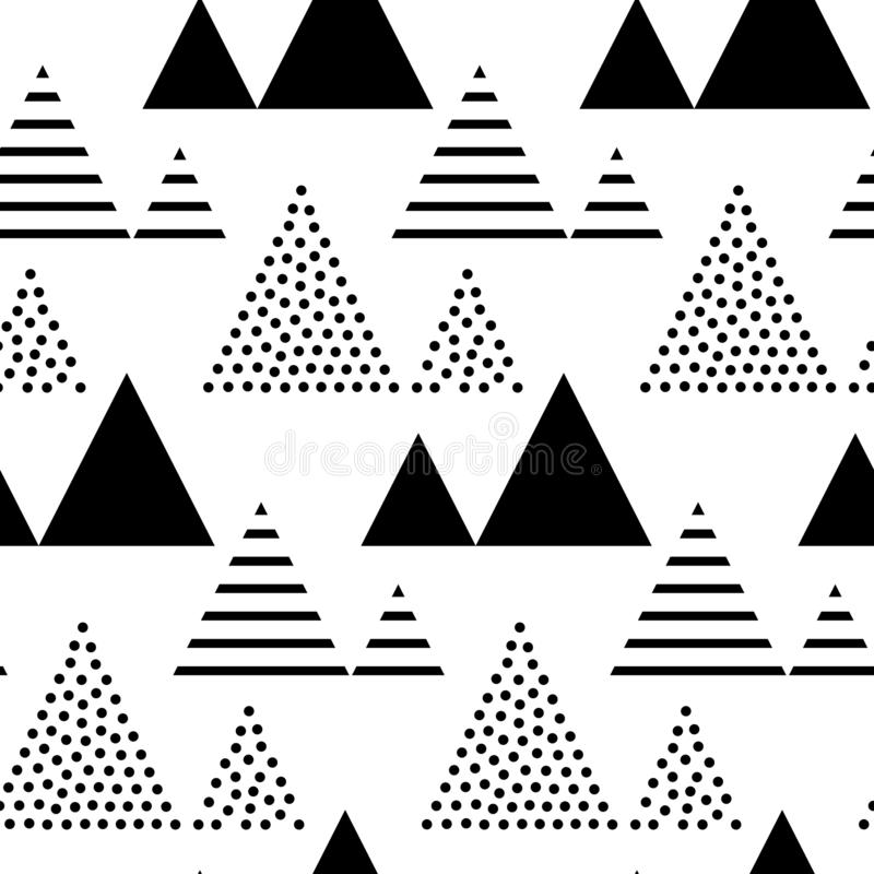Trianglar och sömlös modell för pyramider Abstrakt geometrisk repetition royaltyfri illustrationer