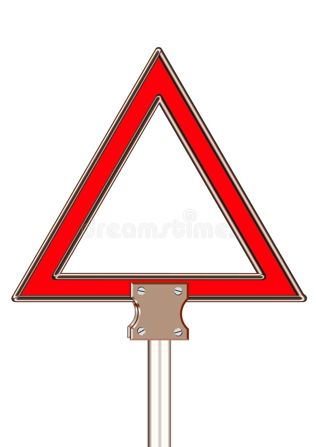 Triangle. Warning triangle board with steel stand clipping over white isolate background vector illustration