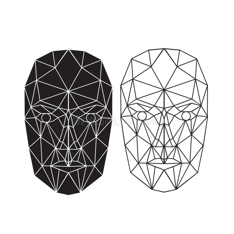 Triangle abstract human face, front view. Vector illustration stock illustration