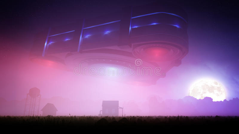 Triangle Alien Spacecraft Over Farm At Night royalty free illustration