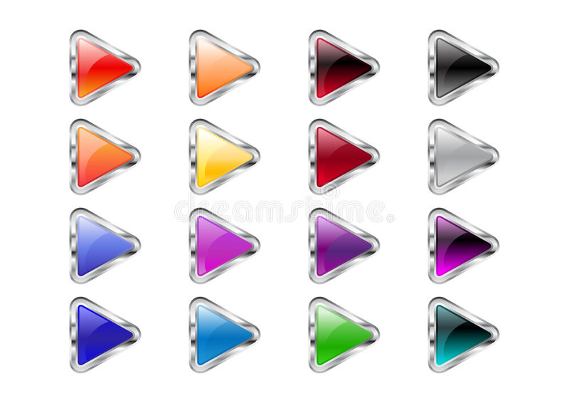 Triangle arrow buttons stock illustration