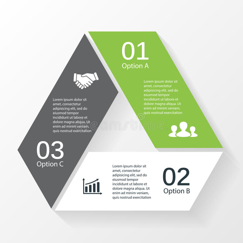 Triangle arrows infographic diagram 3 options. Vector triangle arrows infographic diagram stock illustration