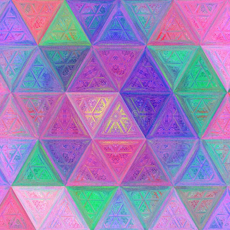 Triangle continuous background, illustration in crayon effect, tender pale multicolor pattern stock photos