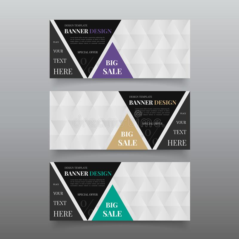 Triangle banner design templates. Web banner design vector. Website banner template with text, button. Business, promotional banne royalty free stock photos