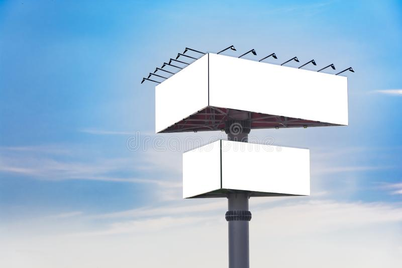 Triangle billboard. Against blue sky, Place for text royalty free stock image