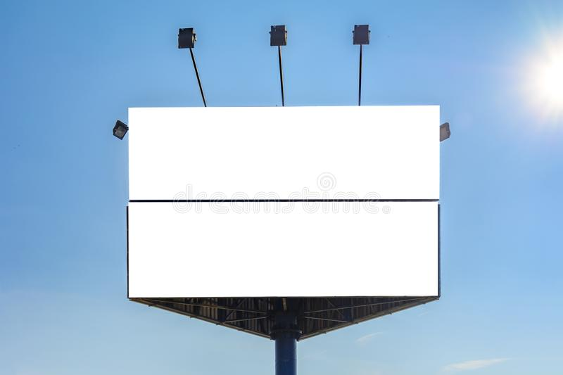 Triangle billboard. Against blue sky, Place for text royalty free stock photos