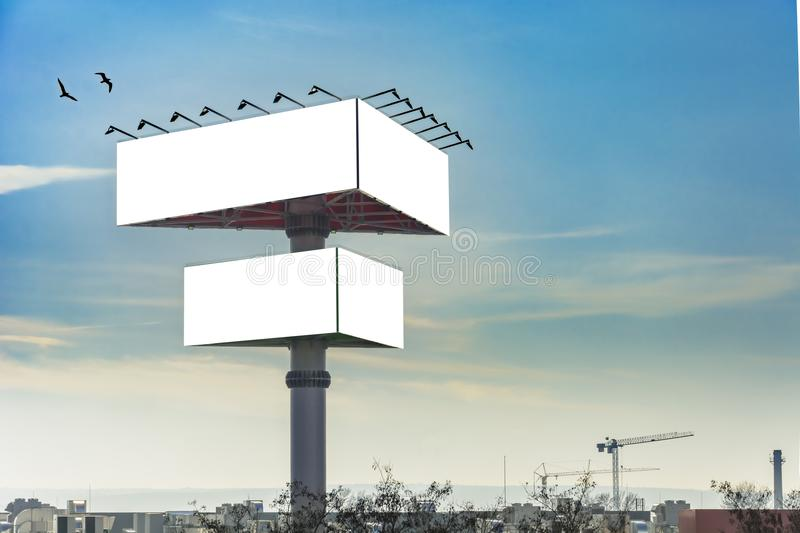 Triangle billboard. Against blue sky, Place for text royalty free stock images