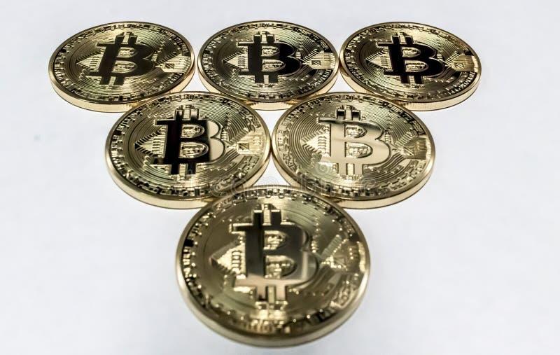 Triangle of bitcoins stock photos