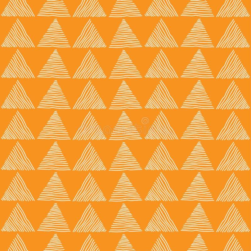 Triangle blanche sans couture tirée par la main un modèle sur le fond orange Texture abstraite géométrique Illustration de vecteu illustration libre de droits