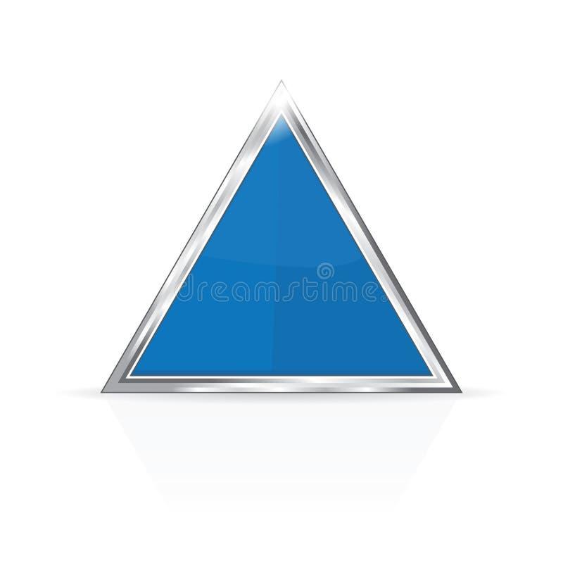 Triangle bleue avec le cadre de chrome photo libre de droits