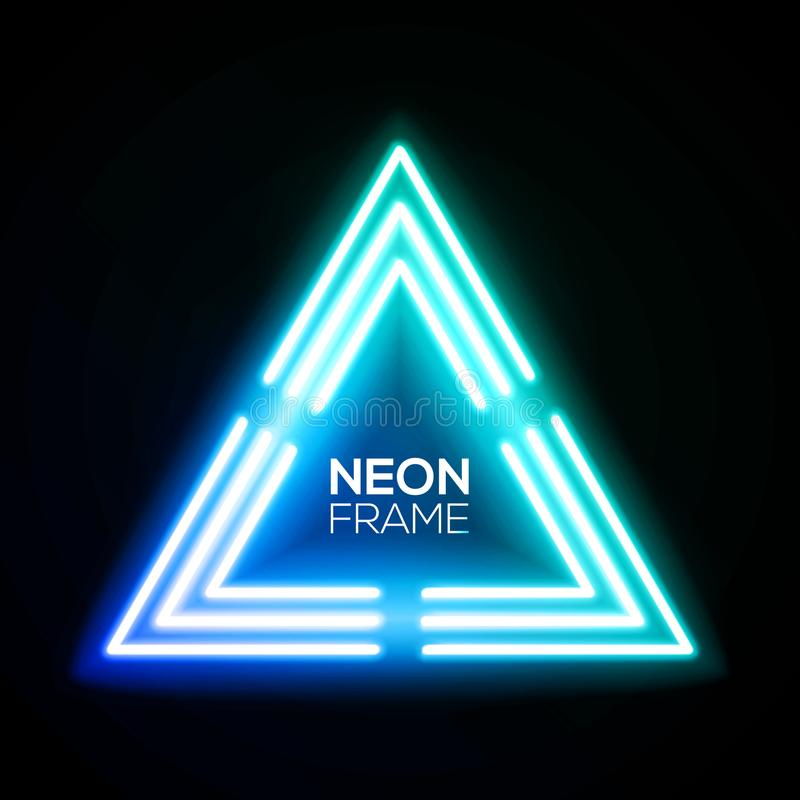 Triangle bleue de lampe au néon Cadre de techno de gradient illustration libre de droits