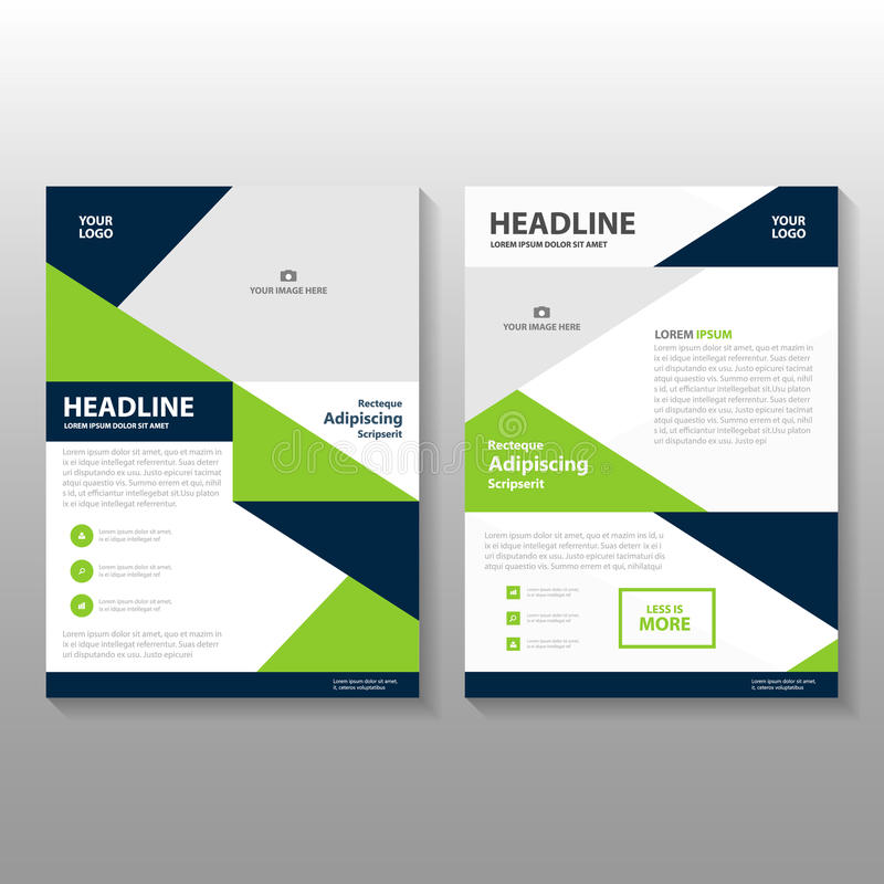 Triangle Blue Green annual report Leaflet Brochure Flyer template design, book cover layout design vector illustration
