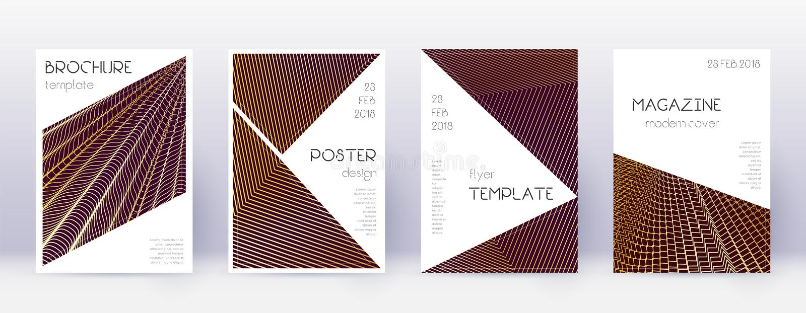 Triangle brochure design template set. Gold abstra. Ct lines on bordo background. Bold brochure design. Posh catalog, poster, book template etc vector illustration