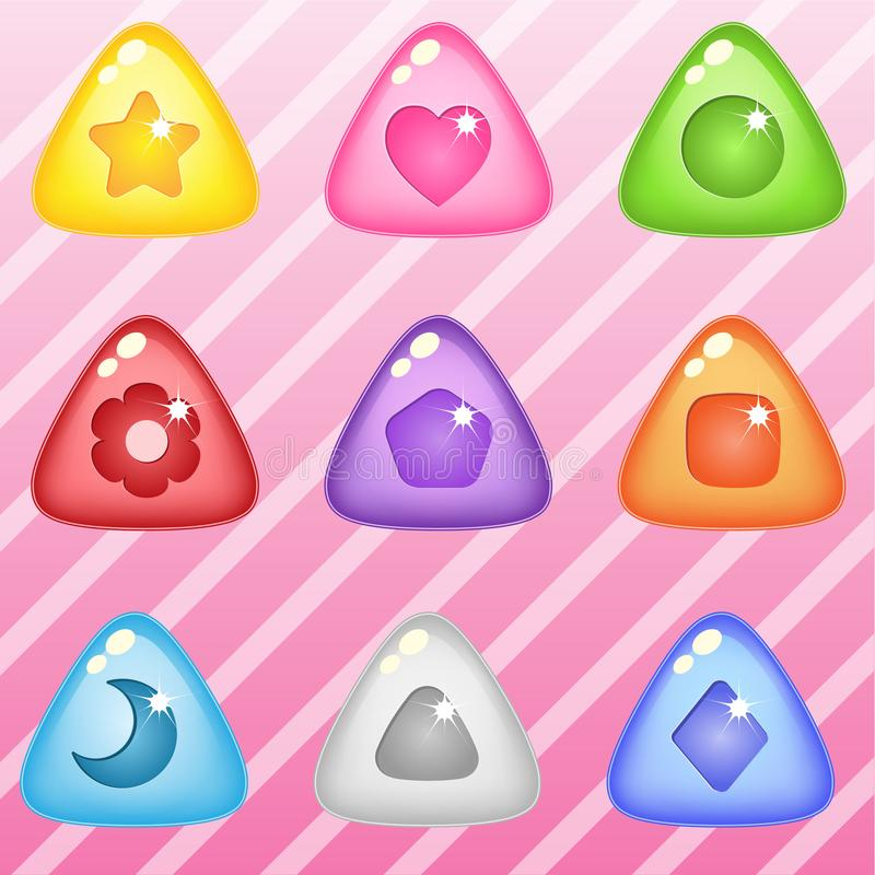 Triangle candy block puzzle button glossy jelly. 2d asset for user interface GUI in mobile application or casual video game. Vector for web or game design stock illustration