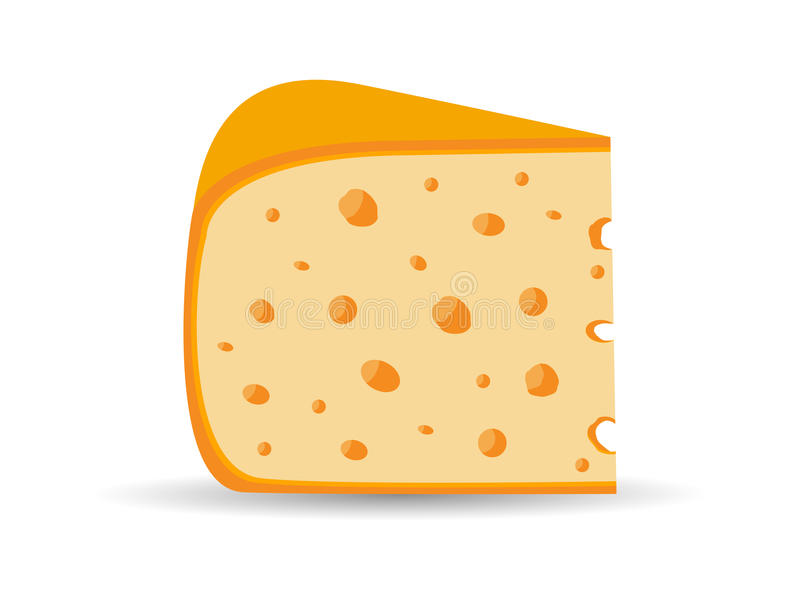 Triangle cheese with holes isolated on white background. Vector royalty free illustration