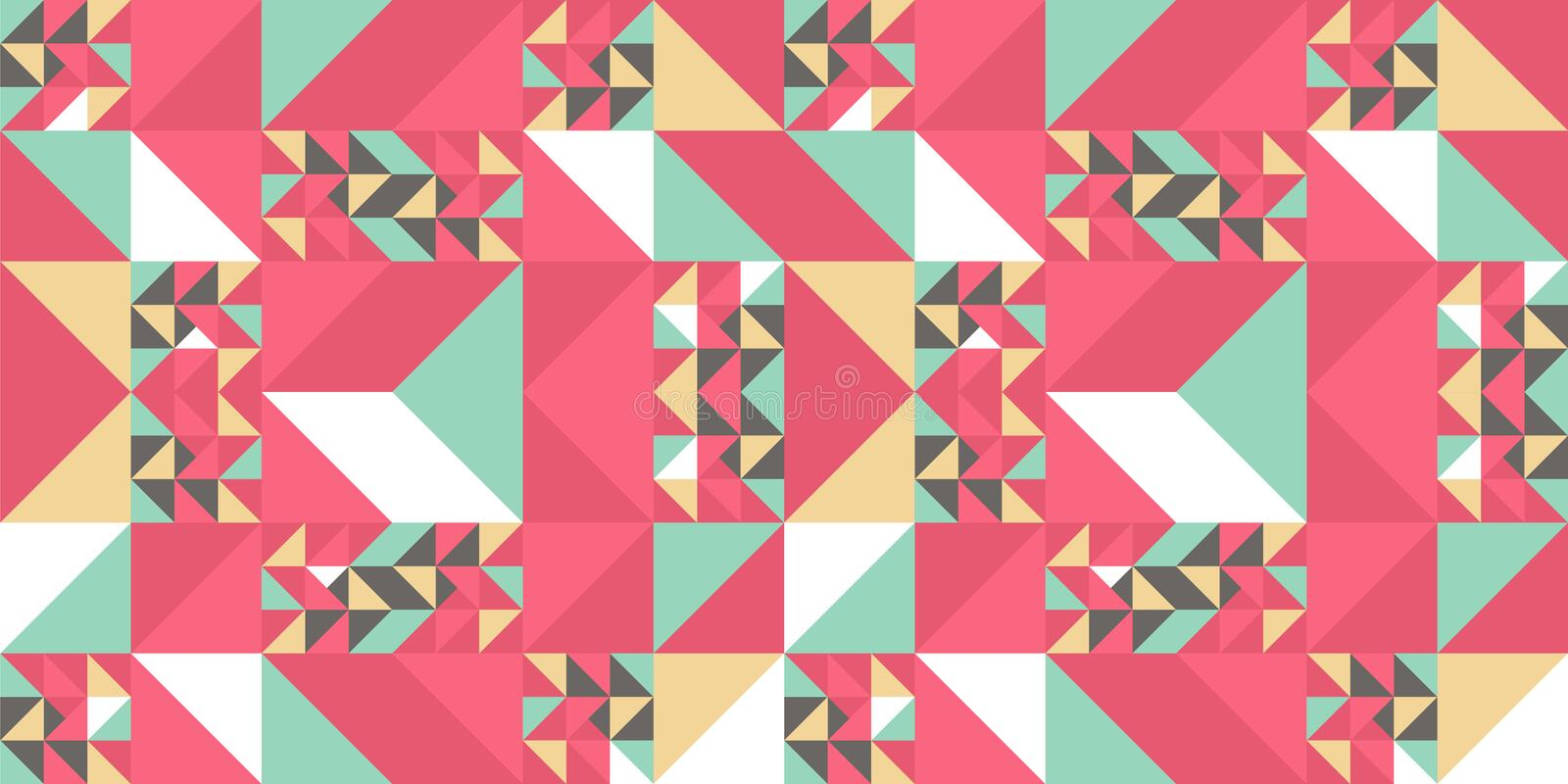 Triangle colorful pattern background for fashion textile print. Good for pillow, carpet, and blanket cover wrapping with trendy stock illustration