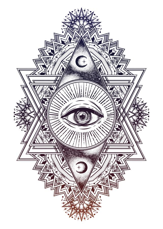 Triangle composition with sacred geometry eye. royalty free illustration
