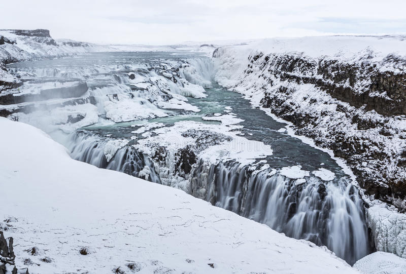 Triangle d'hiver de Gullfoss images stock