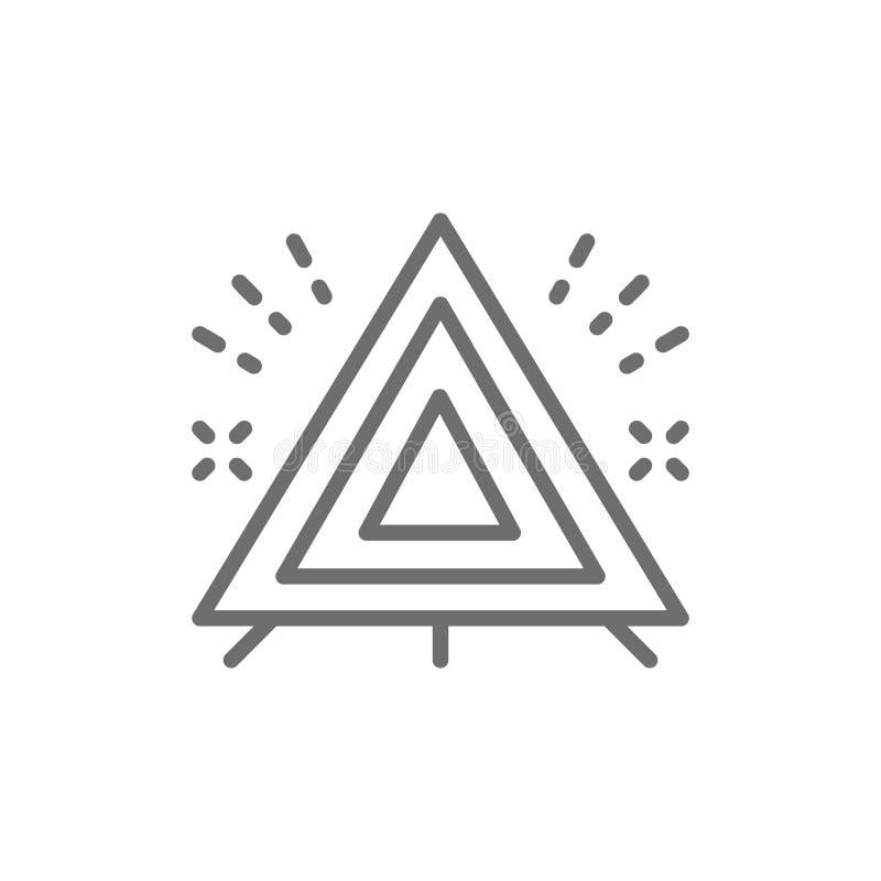 Triangle de avertissement, ligne icône de signe d'arrêt d'urgence d'automobile illustration de vecteur