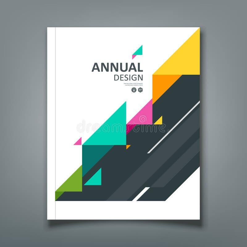 Triangle de papier colorée de rapport annuel de couverture illustration de vecteur
