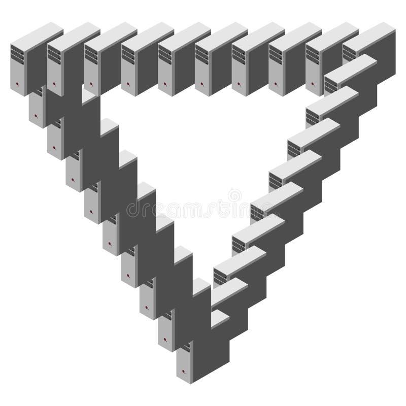 Triangle de Penrose - concept de matériel informatique et d'Internet illustration stock