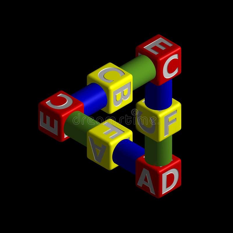 Triangle de Penrose des cubes en jouet image libre de droits