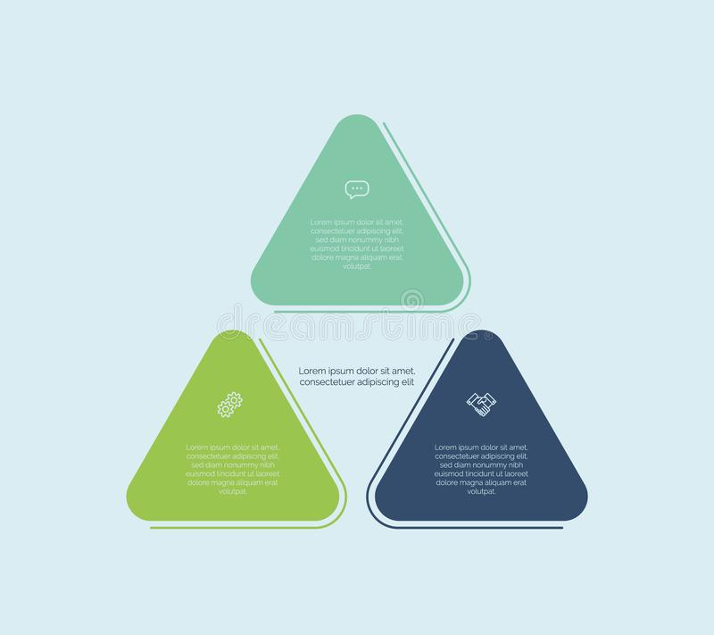 Triangle diagram. Colorful vector design for workflow layout, diagram, number options royalty free stock photo