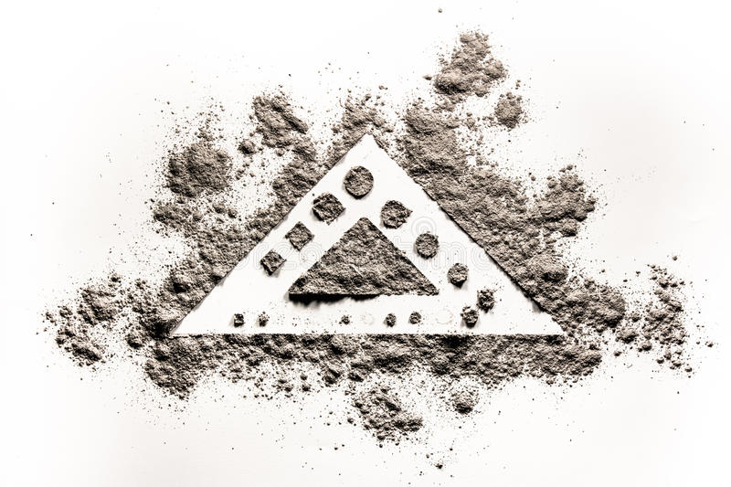 Triangle element shape concept drawing illustration in ash, dust. Triangle element shape concept drawing illustration in grey ash, dust, sand, dirt stock photography
