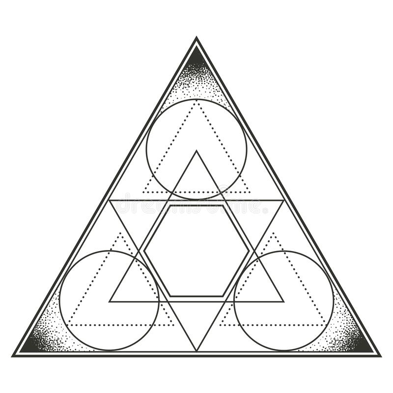 Triangle with encompassed circles. Multicultural symbol representing trinity, God, elements among other many meanings. Line drawing isolated on whitet stock illustration