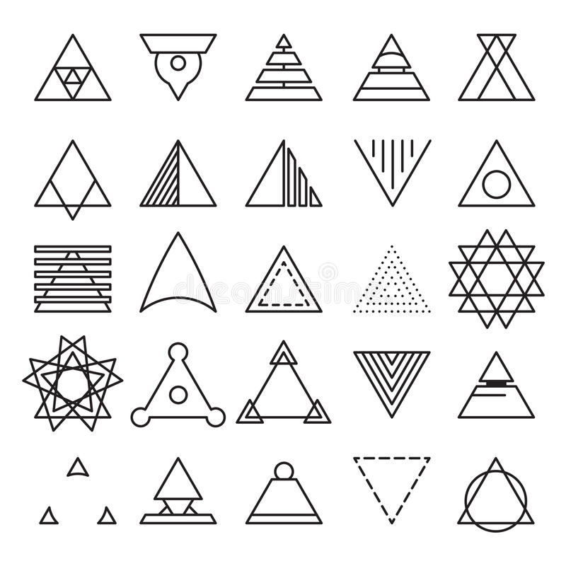 Triangle Experimental Icons Stock Vector - Illustration of wireframe ...