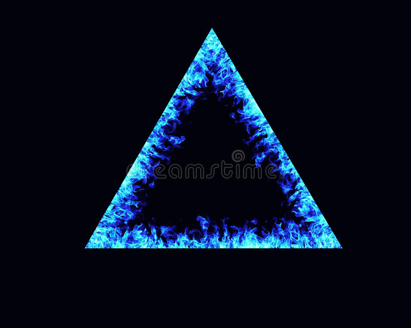 Triangle fire flames frame. On black background stock photo
