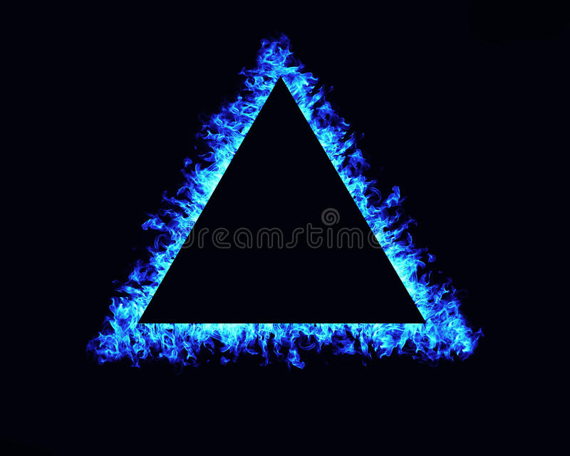 Triangle fire flames frame on black background. Or texture royalty free stock photography