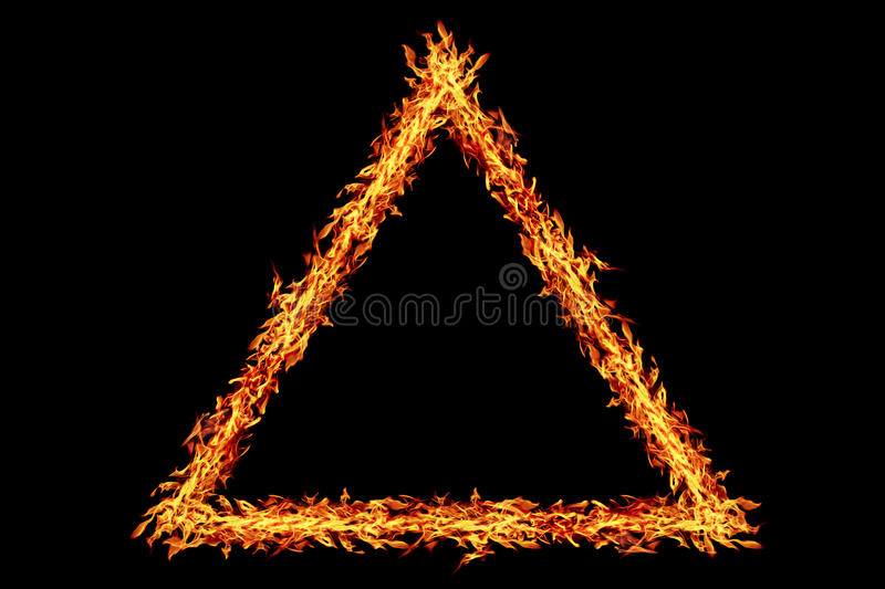 Triangle fire frame isolated on black. It is triangle fire frame isolated on black stock photography