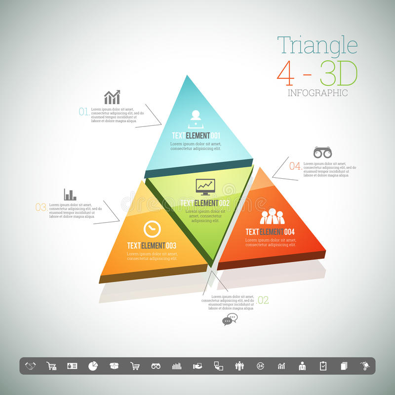 Triangle Four 3D Infographic. Vector illustration of triangle four 3d infographic elements stock illustration