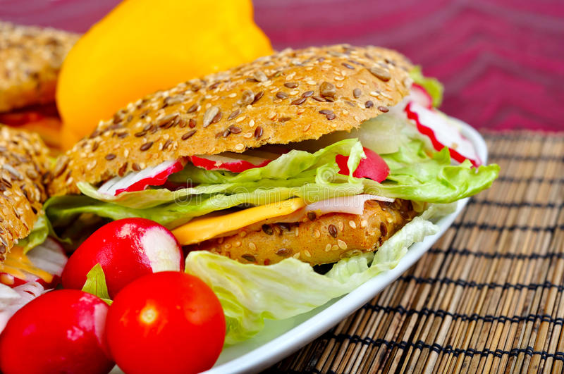 Triangle fresh sandwiches stock photography