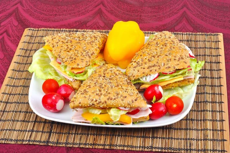 Triangle fresh sandwiches stock photo