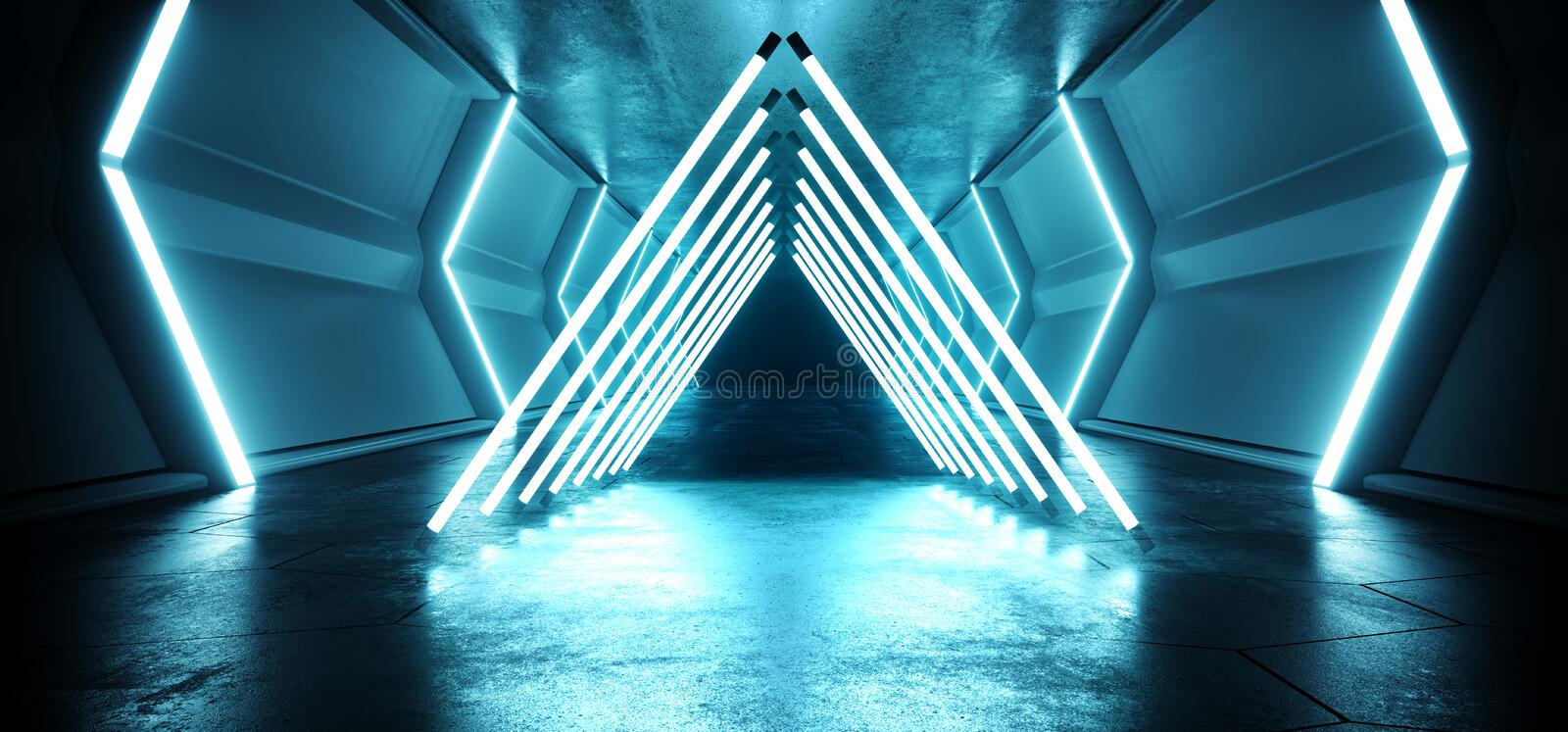 Triangle Futuristic Sci FI Alien Spaceship Neon Laser Led Blue Glowing Tunnel Metal Reflection Grunge Concrete Floor Wet Gate royalty free illustration